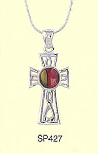 Round HeatherGems in Sterling Silver Cross