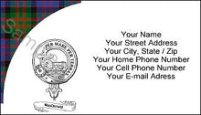 Load image into Gallery viewer, Tartan with Clan Crest and Scroll Business Card - Quantity 100