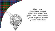 Load image into Gallery viewer, Tartan with Clan Crest  Business Card - Quantity 100