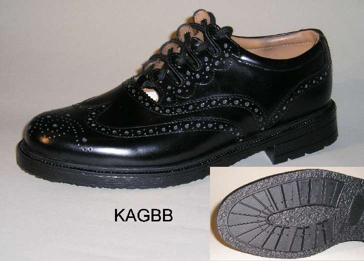 Black Upper Leather Walking Sole Ghillie Brogue