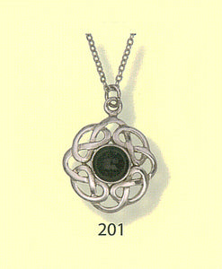 Celtic Interlace Round Pendant with Rimmed Stone