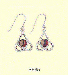 Round HeatherGem Cab in Triangle Drop Earrings - Sterling Silver