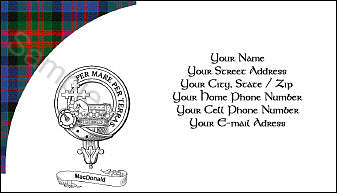 Tartan with Clan Crest and Scroll Business Card - Quantity 100