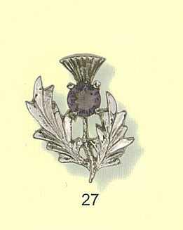 Single Thistle Brooch with Gem