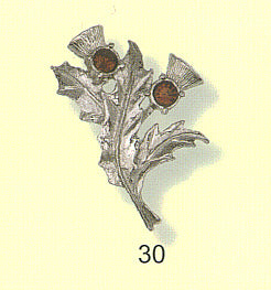 Double Thistle Brooch with Gem