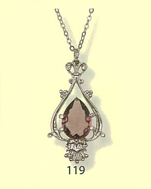 Victorian Style Teardrop Pendant with Stone