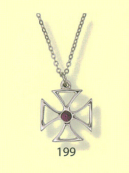 Pendant - Maltese Cross - Open with Stone