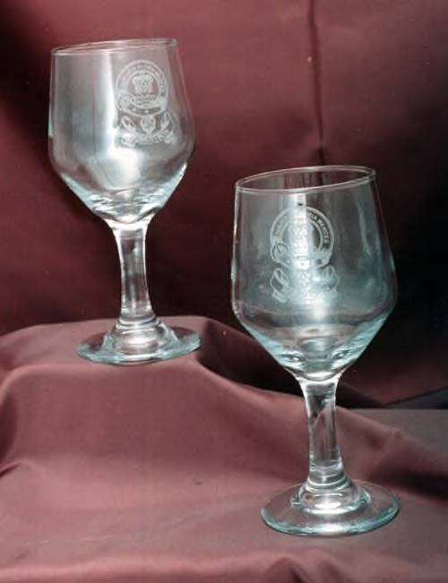 Wine Goblets - Set of 2 - Engraved with Family Coat of Arms