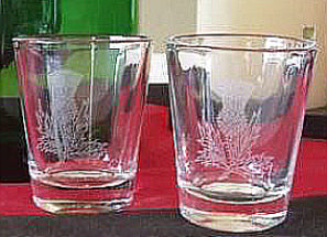 Scottish Dram Shot Glasses with Thistle - Set of Two