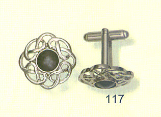 Cufflinks - Celtic Interlace with Stone