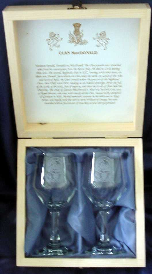 WINE GOBLET with CLAN CREST - 2 pc Boxed Set