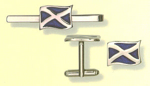 Saltire Cufflinks with Tie Clasp - SPECIAL