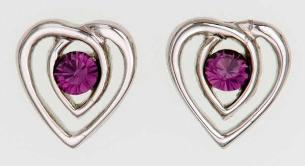 Heart Shape Stud Earrings with Stone