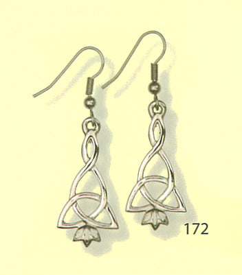 Eilean Annraidh Earrings with Pendant - Celtic Interlace - Zoomorphic