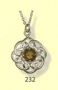 Celtic Interlace Round Pendant with Stone