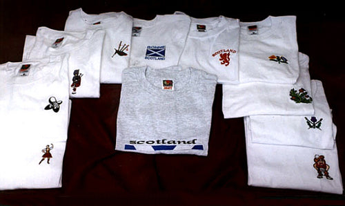 CREW NECK T-SHIRT with Embroidered Designs