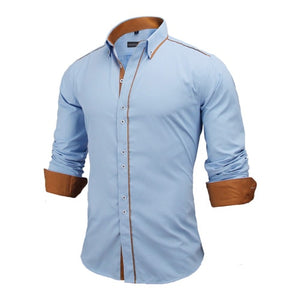 New Arrivals Slim Fit Male Shirt Solid Long Sleeve British Style Cotton shirt