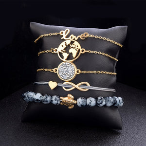 Crystal Bead Chain Bracelet Set