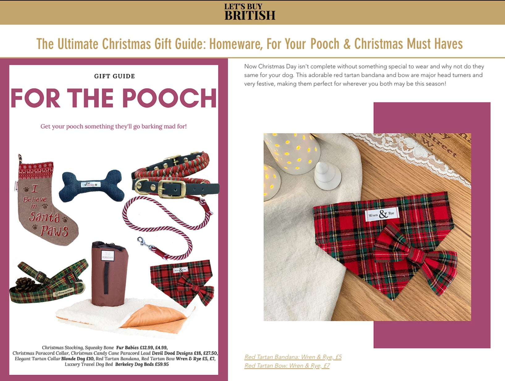 Wren & Rye - Press Lets Buy British Website Dog Christmas Gift List