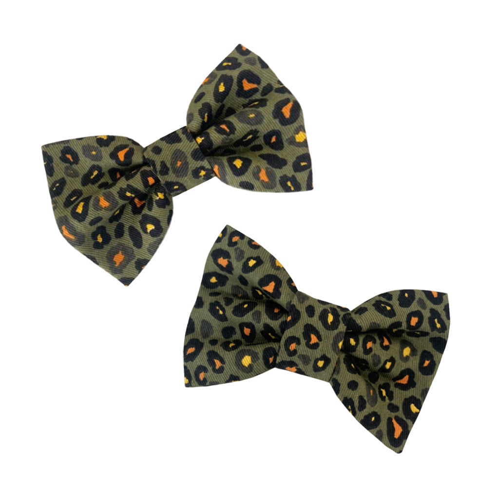 Hound and Human Khaki Leopard Bow Tie Gift Set