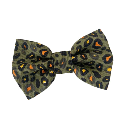 Khaki Leopard Cotton Dog Bow Tie