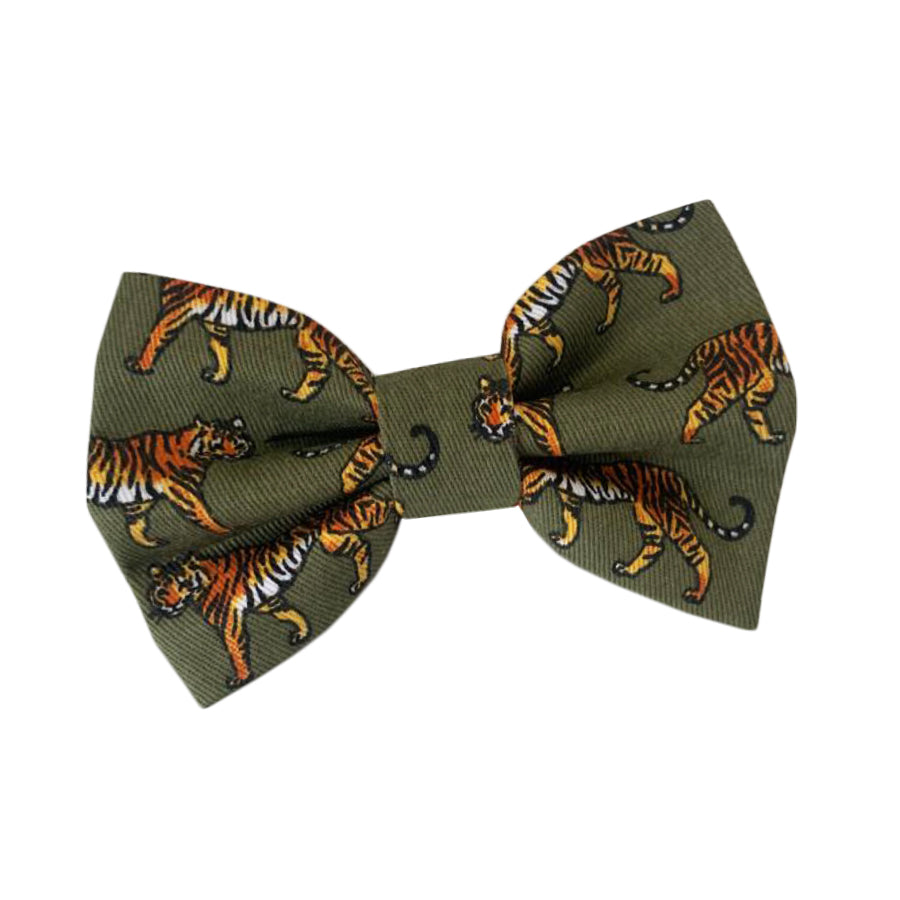 Khaki Tiger Cotton Dog Bow Tie