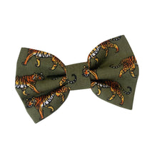Load image into Gallery viewer, Khaki Tiger Cotton Dog Bow Tie