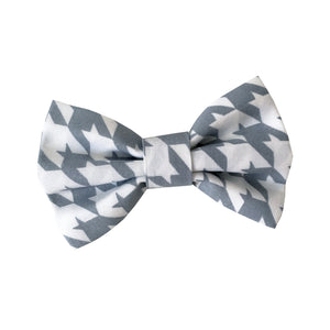 Houndstooth Grey Dog Bow Tie