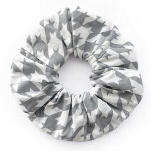 Houndstooth Grey Print Hair Scrunchie