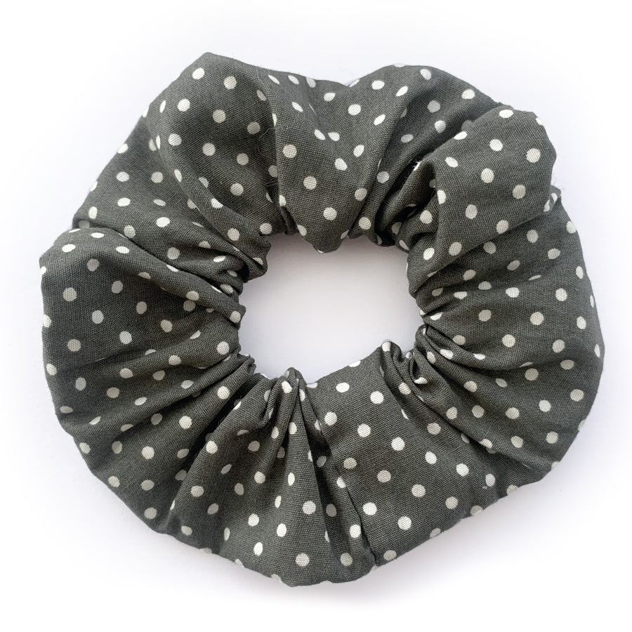 Polka Dot Spot Grey Print Hair Scrunchie