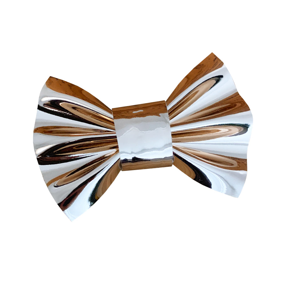 Mirror Shine Rose Gold Faux Leather Dog Bow Tie