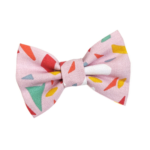 Terrazzo Pink Cotton Dog Bow Tie
