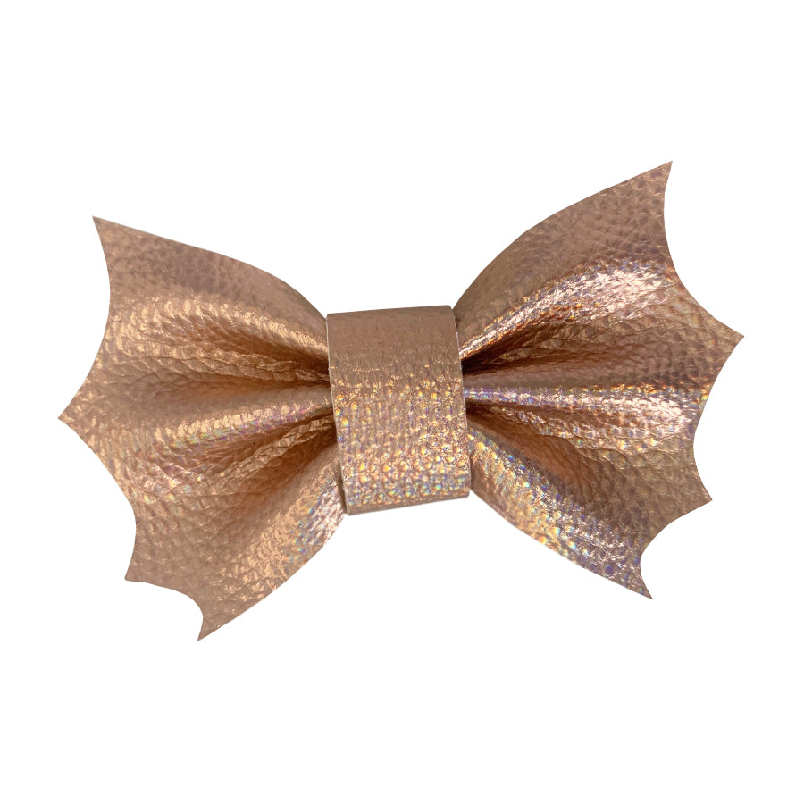 Wren & Rye - Rose Gold Barking Bats Faux Leather Leatherette PVC Halloween Doggy Bow Tie