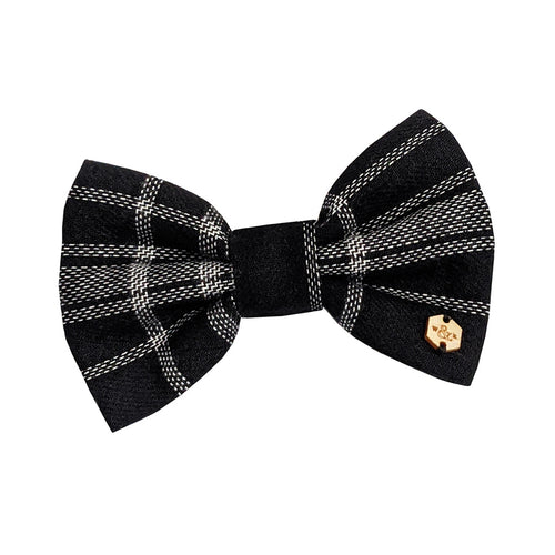 Black Brushed Cotton Tartan Bow Tie