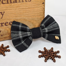 Load image into Gallery viewer, Black Brushed Cotton Tartan Bow Tie