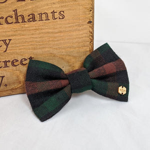 Green & Brown Brushed Cotton Tartan Bow Tie
