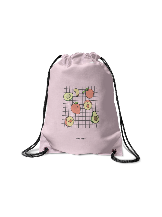 PEACHES & AVOCADOS DRAWSTRING BAG