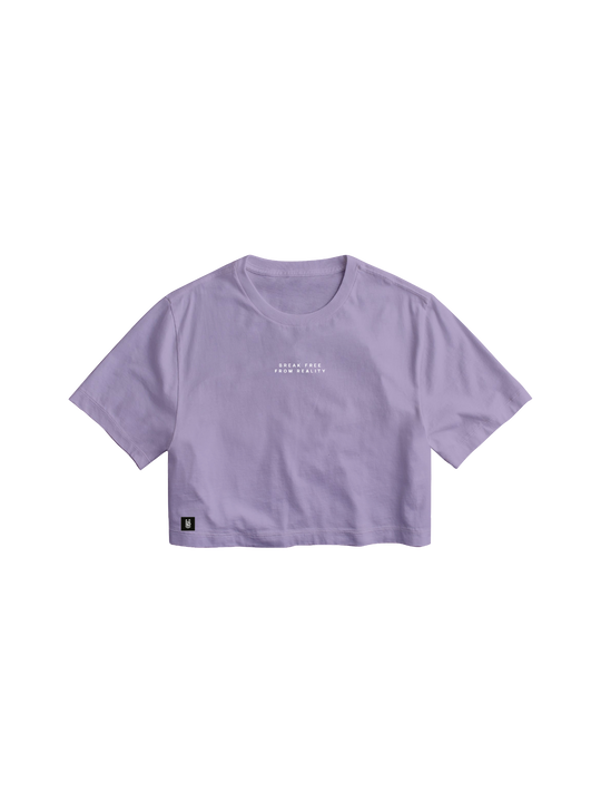 BREAK FREE FROM REALITY LILAC CROP TOP
