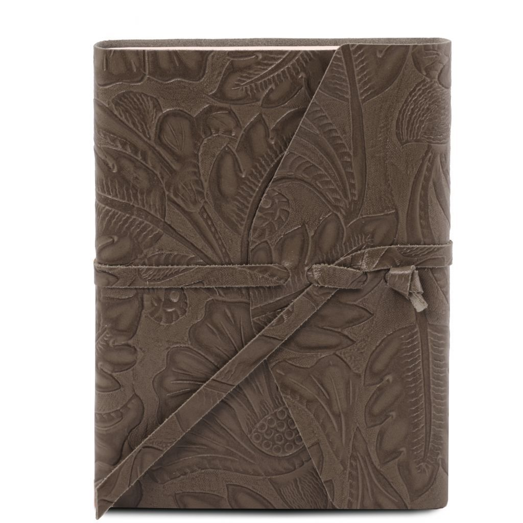 Embossed Leather travel diary with floral pattern_6