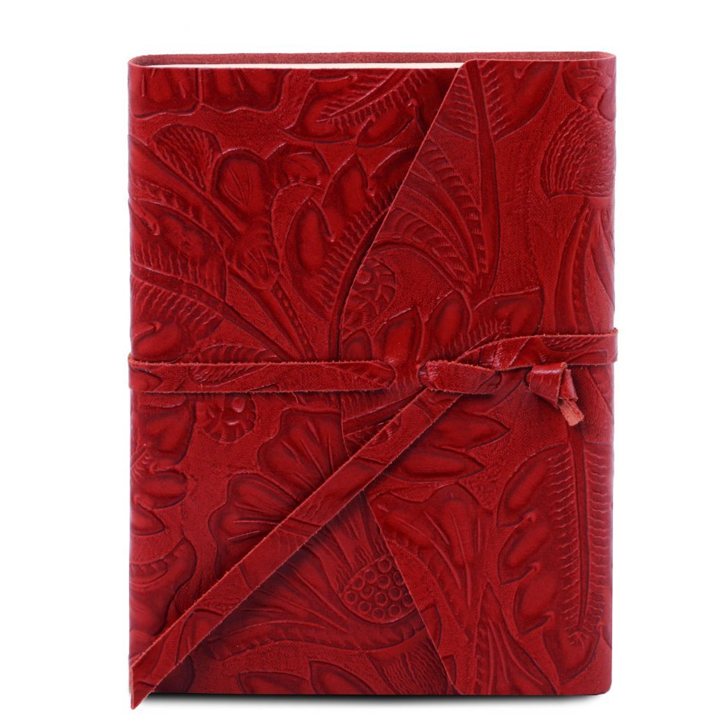 Embossed Leather travel diary with floral pattern_5