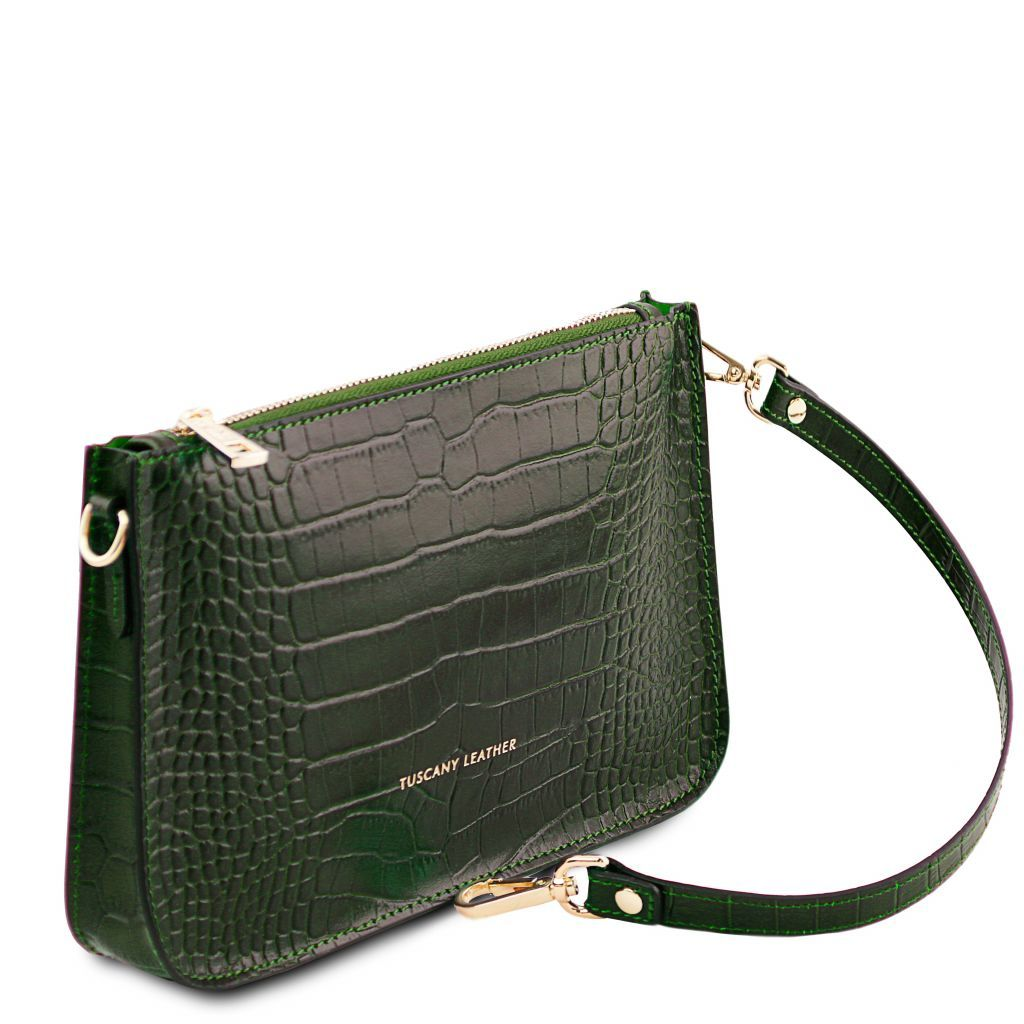 Cassandra Croc-Embossed Clutch Handbag_9