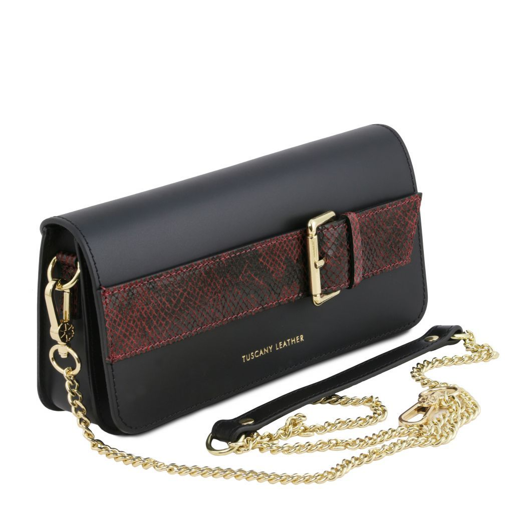 Demetra Leather Clutch with chain strapÊ_5