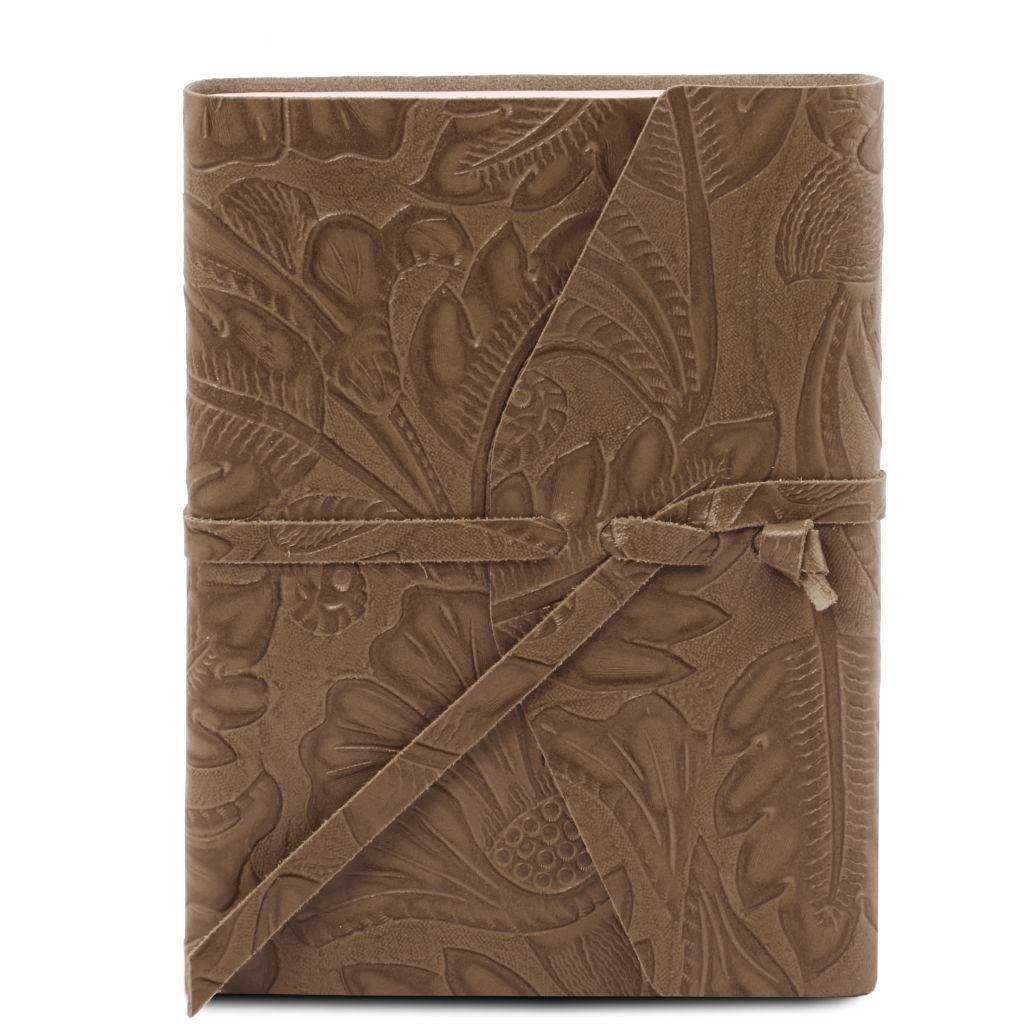 Embossed Leather travel diary with floral pattern_1