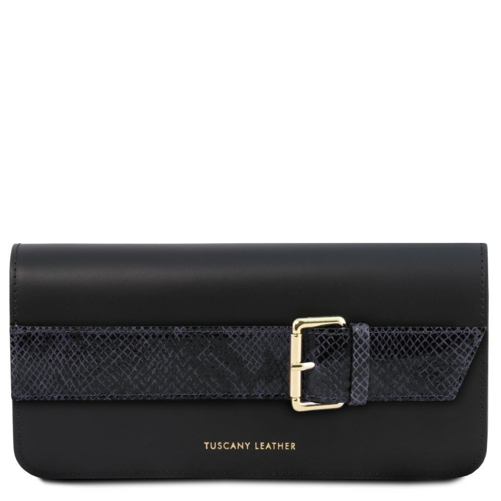 Demetra Leather Clutch with chain strapÊ_4