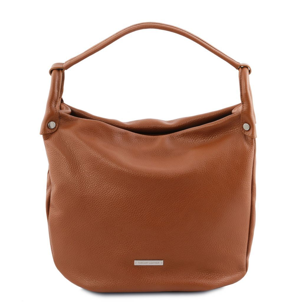 TL Embossed Leather Hobo Bag_1