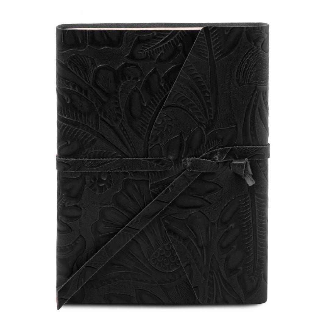 Embossed Leather travel diary with floral pattern_4