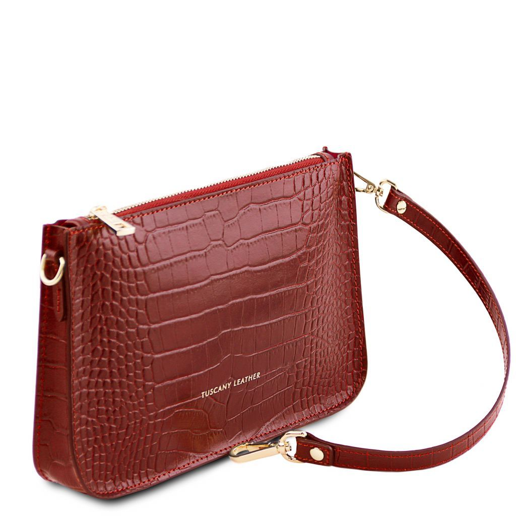 Cassandra Croc-Embossed Clutch Handbag_8