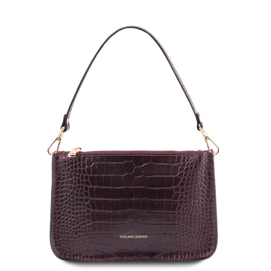 Cassandra Croc-Embossed Clutch Handbag_1