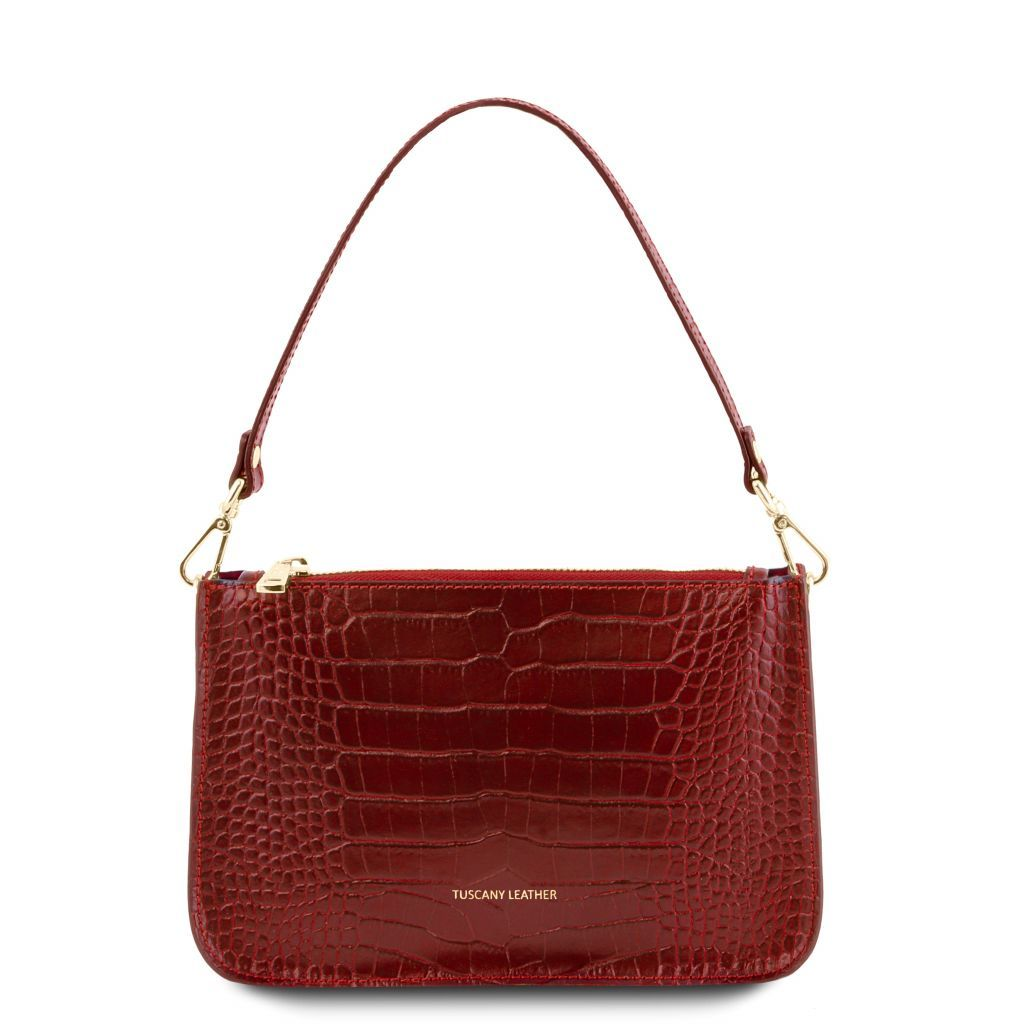 Cassandra Croc-Embossed Clutch Handbag_3