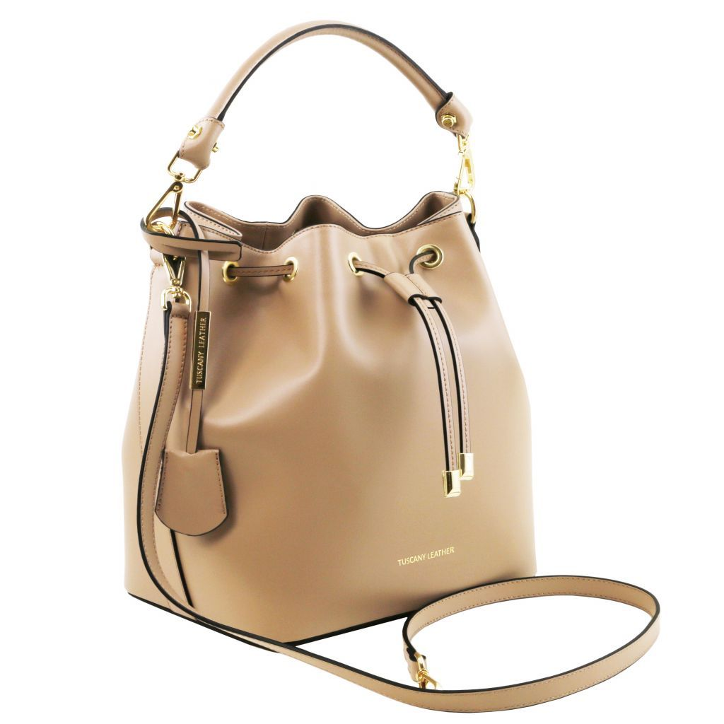 Vittoria Smooth Leather Bucket Bag_19